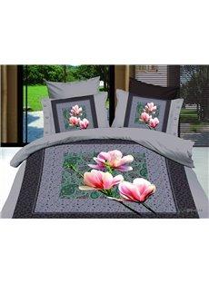 3D Pink Magnolia Printed Bohemian Cotton 4-Piece Bedding Sets/Duvet Cover