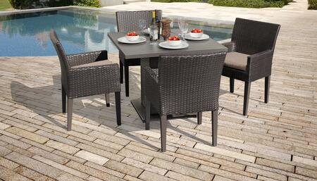 Belle Collection BELLE-SQUARE-KIT-4DCC-WHEAT Patio Dining Set with 1 Table   4 Arm Chairs - 2 Sets of Wheat