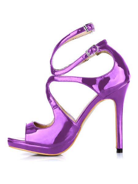 Milanoo PU Leather Ankle Strap Cut Out High Heels