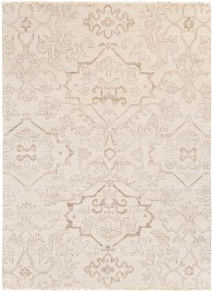 Hillcrest HIL-9040 8' x 11' Rectangle Traditional Rug in Light Gray  Camel