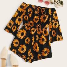 Plus Sunflower Print Tie Front Bardot Romper