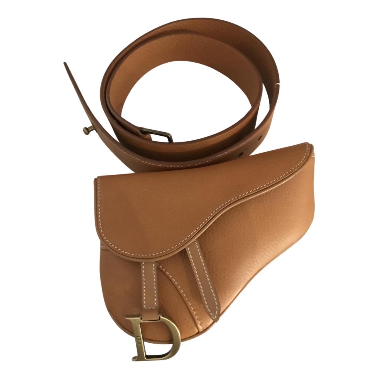 Dior - Pochette Saddle pour femme en cuir - camel
