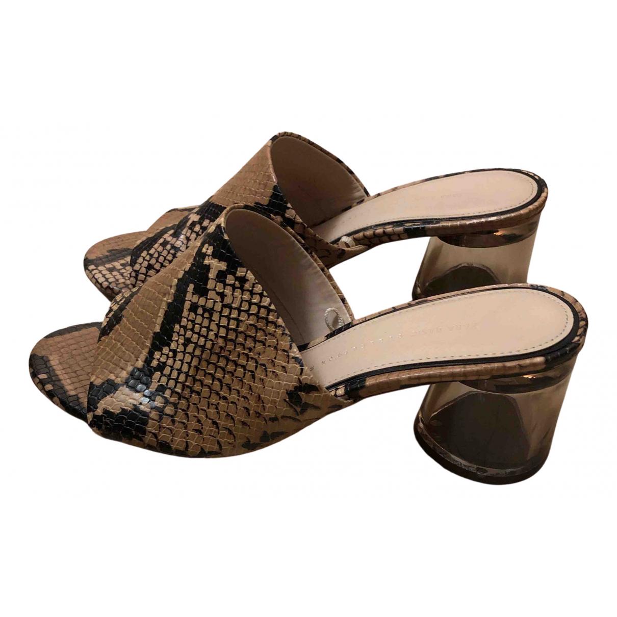 Zara \N Khaki Pony-style calfskin Mules & Clogs for Women 39 EU