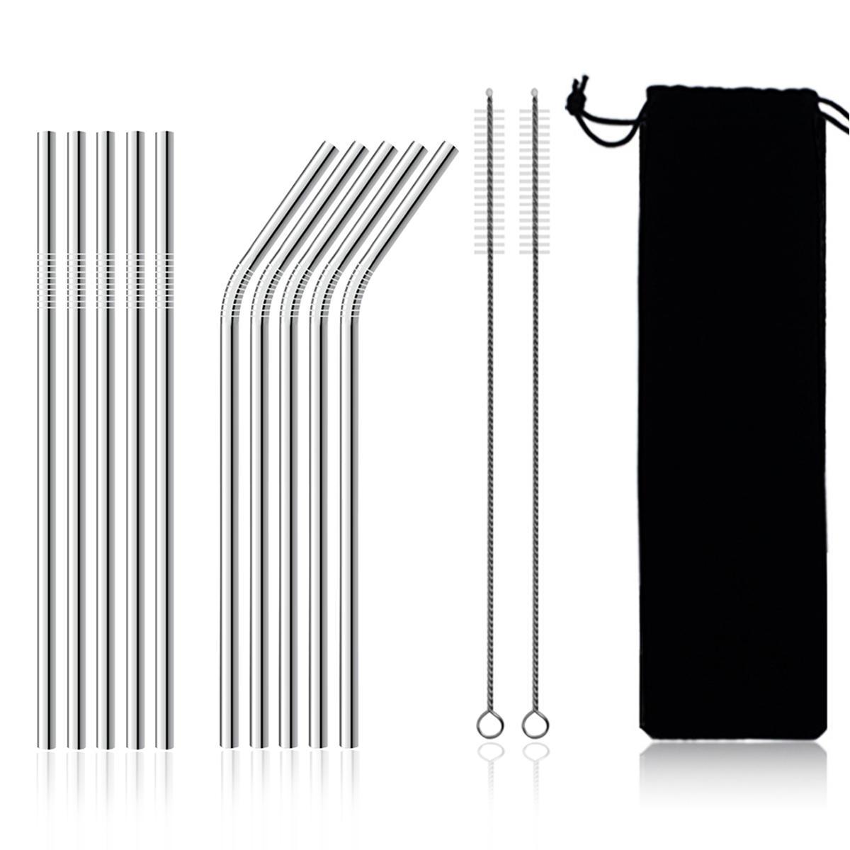 11Pcs Stainless Steel Metal Drinking Straw Reusable Straws