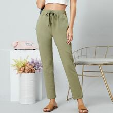 French Terry Drawstring Waist Sweatpants