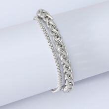 Men Metal Layered Bracelet