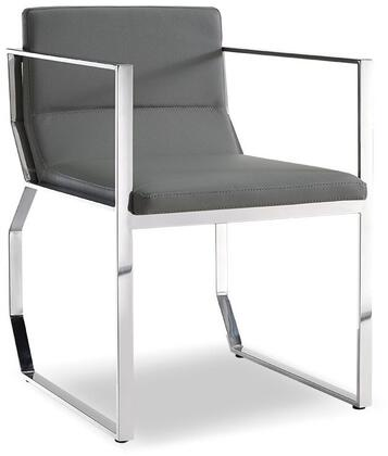 Blake Collection DAC1439-GRY Dining Armchair with Sled Base  Polished Stainless Steel Frame and Faux Leather Upholstery in Grey