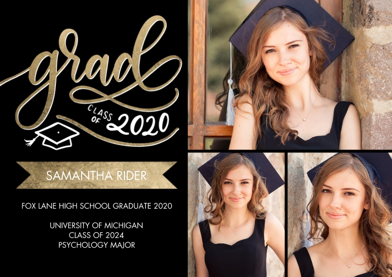 2020 Graduation Announcements 5x7 Cards, Premium Cardstock 120lb, Card & Stationery -Grad Class of 2020 Banner by Tumbalina