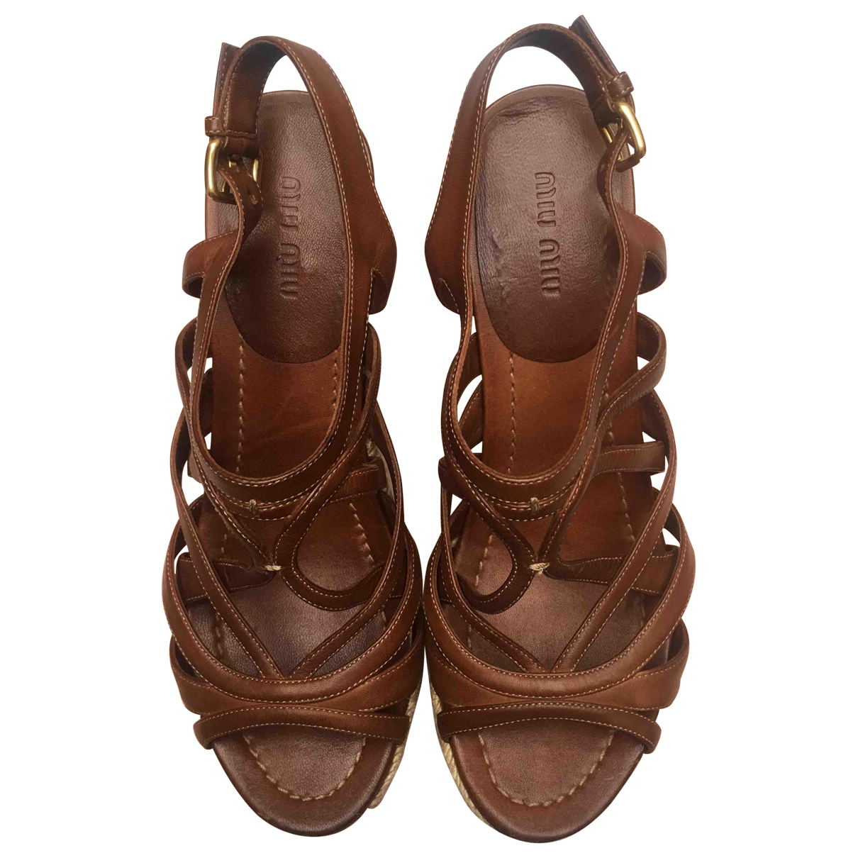 Miu Miu \N Camel Leather Espadrilles for Women 39.5 EU