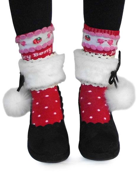 Milanoo Black Velvet Lolita Heels Shoes with White Fluffy Ball