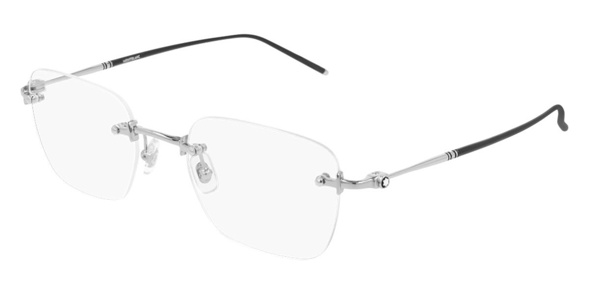 Mont Blanc MB0130O 001 Men's Glasses Silver Size 53 - Free Lenses - HSA/FSA Insurance - Blue Light Block Available