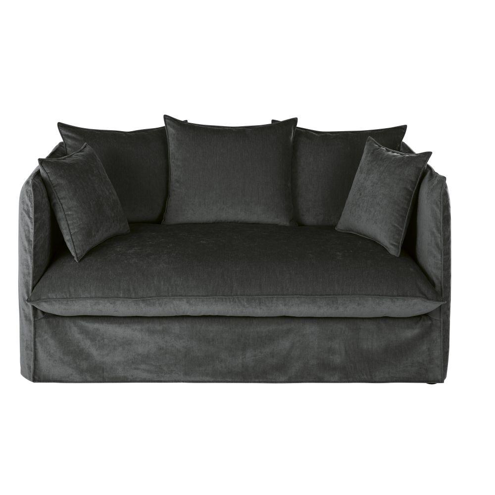 2-Sitzer-Schlafsofa mit dunkelgruenem Samtbezug und Matratze 10 cm Louvre