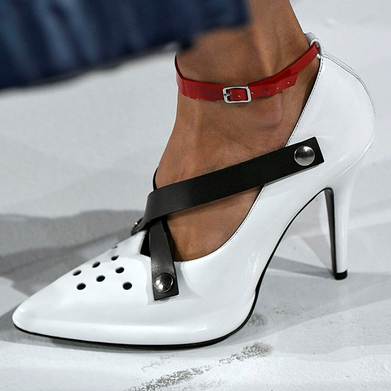 Eridress Hollow Rivet Color Block Stiletto Heel Prom Shoes