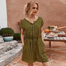 Gingham Button Front Romper
