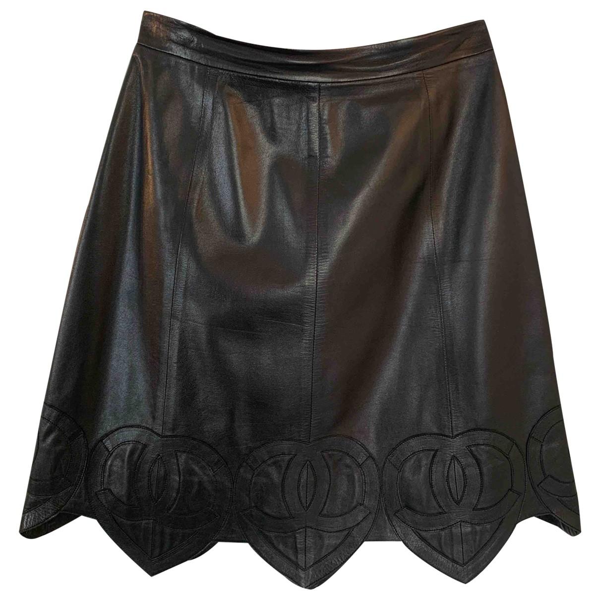 Chanel - Jupe   pour femme en cuir - noir