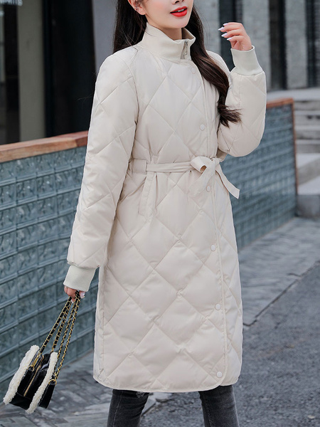 Milanoo Abrigos acolchados para mujer Crudo blanco Cuello alto medio Cremallera Mangas largas Abrigo de invierno acolchado academico Prendas de abrigo
