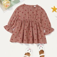 Baby Girl Flounce Sleeve Ditsy Floral Dress
