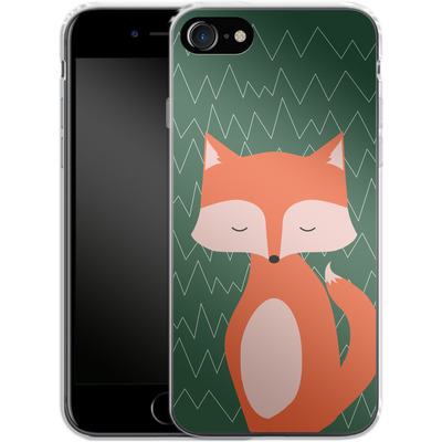 Apple iPhone 8 Silikon Handyhuelle - Fox on Green von caseable Designs