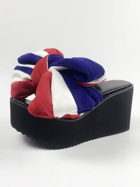 Milanoo Sweet Lolita Sandals Open Toe Platform Bows Color Block Lolita Shoes