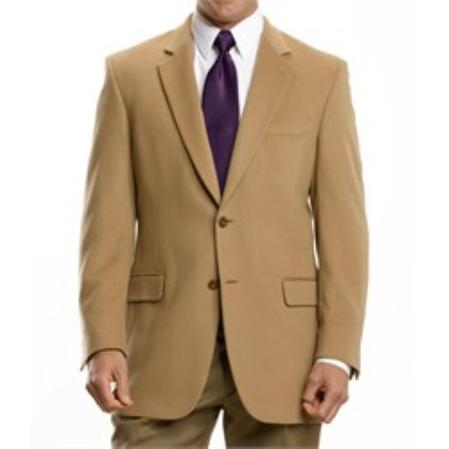 Executive 2Button Cashmere and Wool Blazer Tan