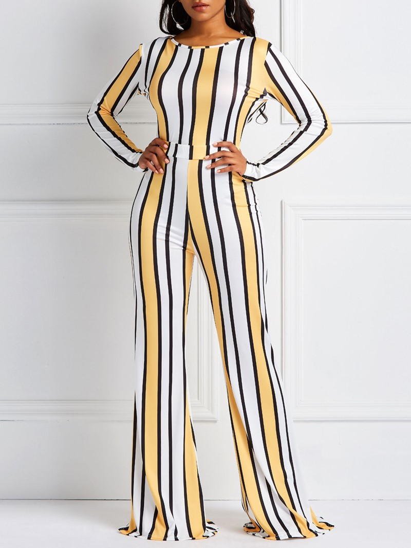 Ericdress Striped Pullover Round Neck Skinny T-Shirt and Pants Two Piece Sets
