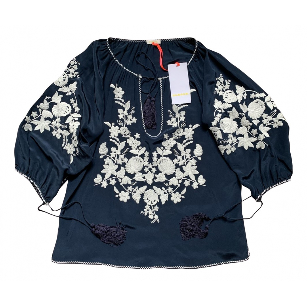 Parosh N Navy Silk  top for Women XS International