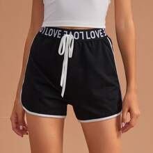 Letter Tape Contrast Binding Tie Front Lounge Shorts