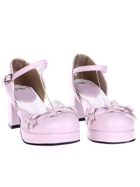 Milanoo Zapatos Lolita Dulce Tacones Pony Platforma Gruesos Hebilla Lazos