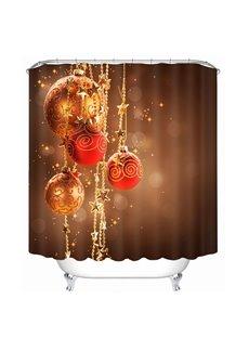 Dreamlike Red Christmas Balls Decor Printing Christmas Theme Bathroom 3D Shower Curtain