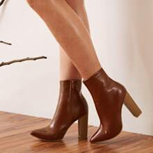Point Toe Side Zip Chunky Heeled Ankle Boots