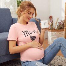 Maternity Top mit Buchstaben & Herzen Muster