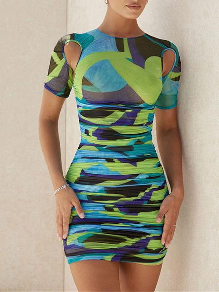 Milanoo Women\'s Bodycon Dresses Green Color Block Short Sleeves Zipper Casual Jewel Neck Midi Sheath Dress