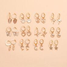 12pairs Star & Shell Charm Drop Earrings