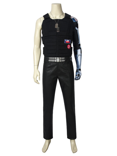 Milanoo Cyberpunk 2077 Cosplay Costumes Black Adults Game Pants Necklace Set Game Cosplay Costumes