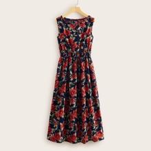 A Linie Kleid mit Blumen Muster und geraffter Taille