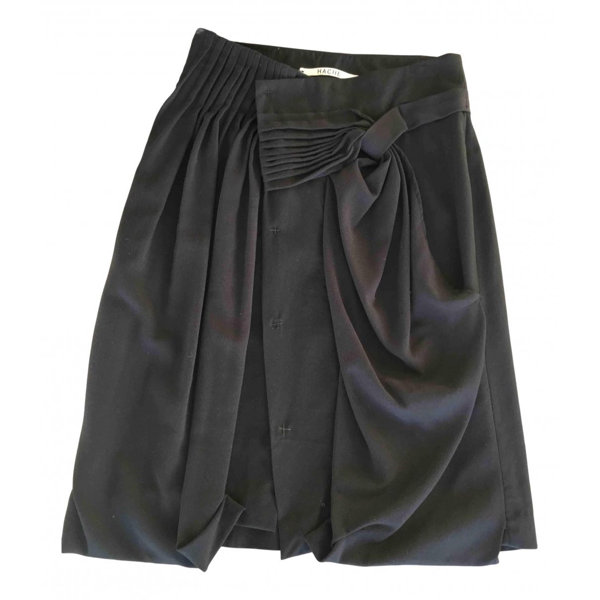 Hache - Jupe   pour femme en laine - noir