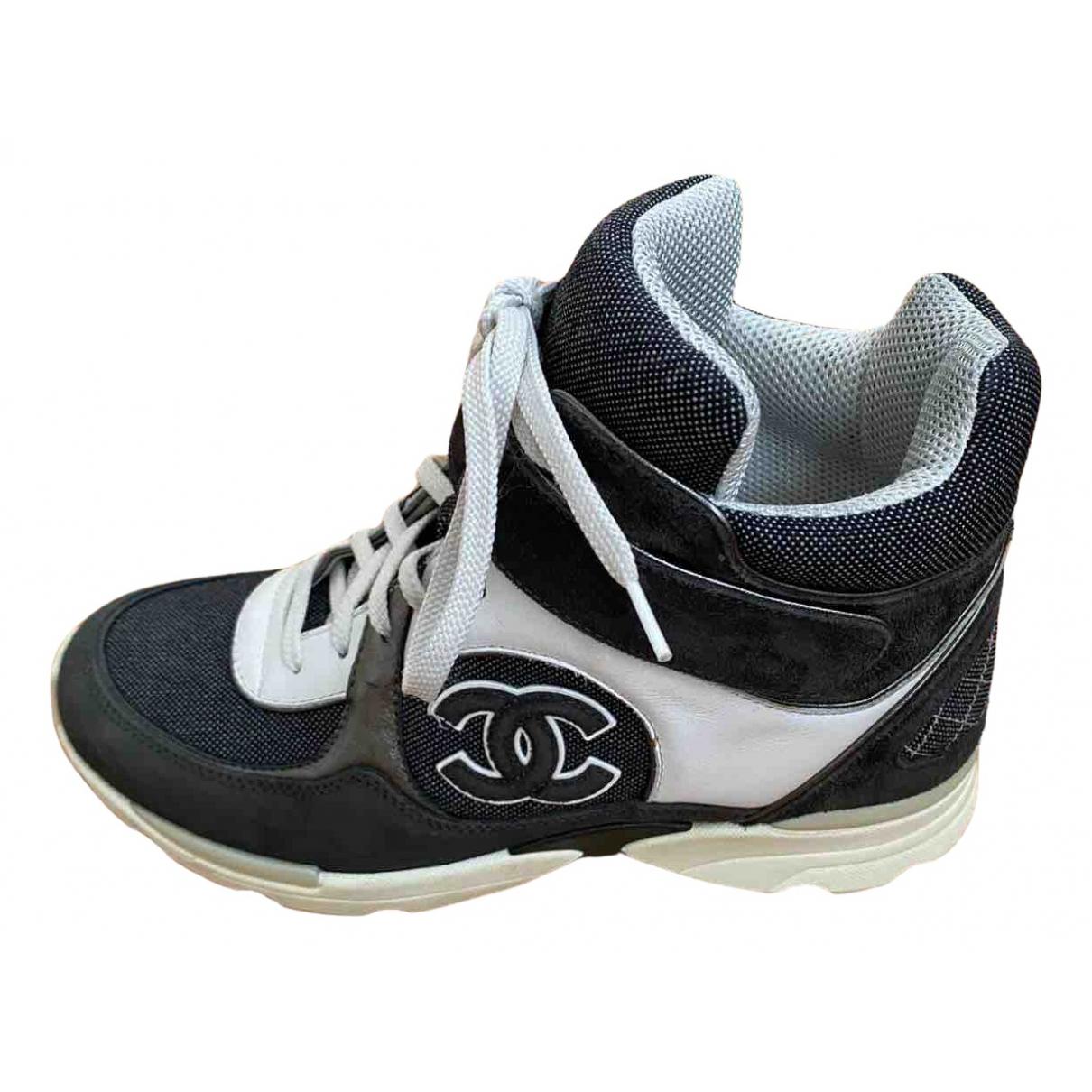 Chanel - Baskets Ankle Strap pour femme en toile - gris