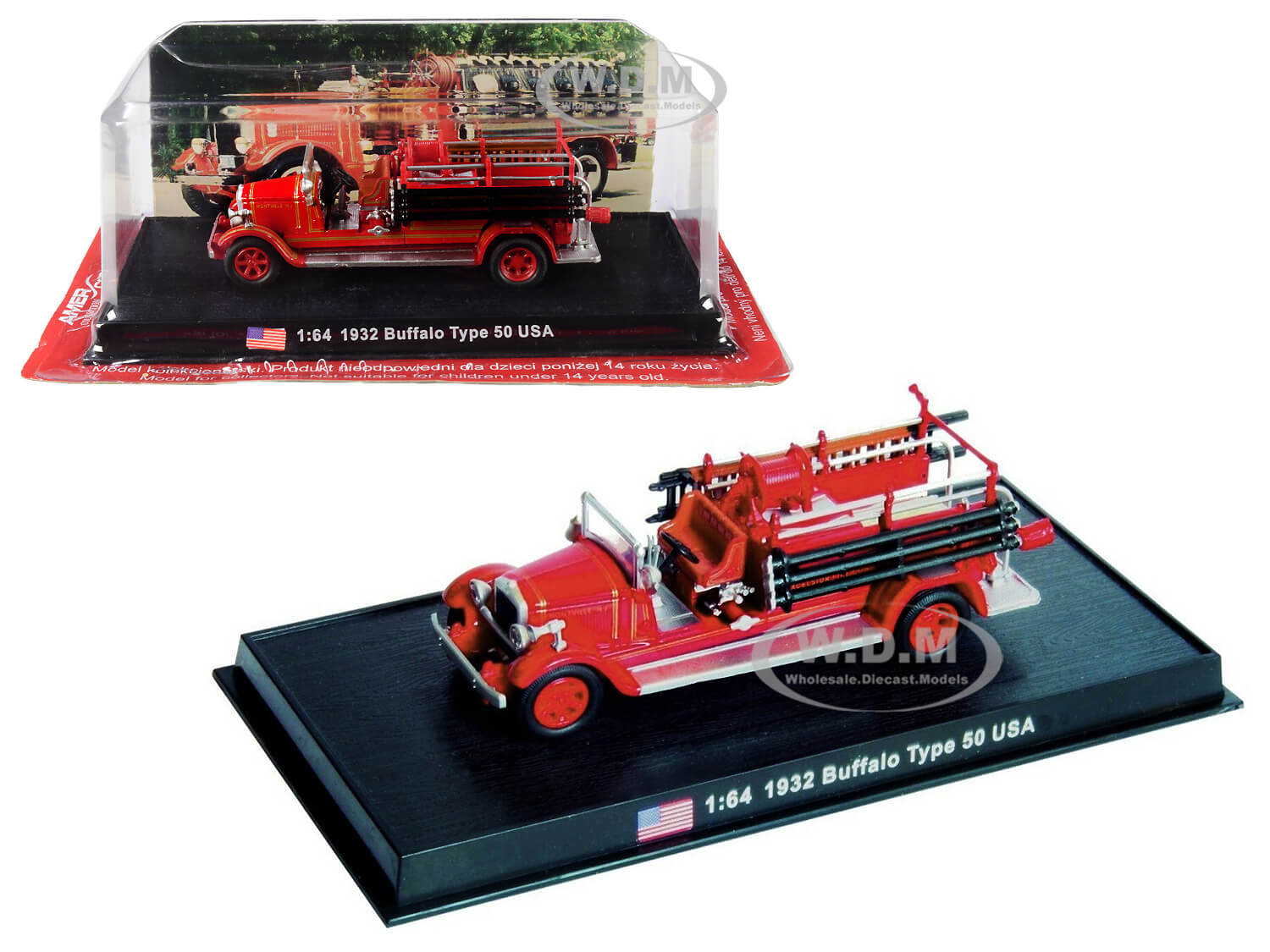 1932 Buffalo Type 50 Fire Engine (Montville New Jersey) 1/64 Diecast Model by Amercom