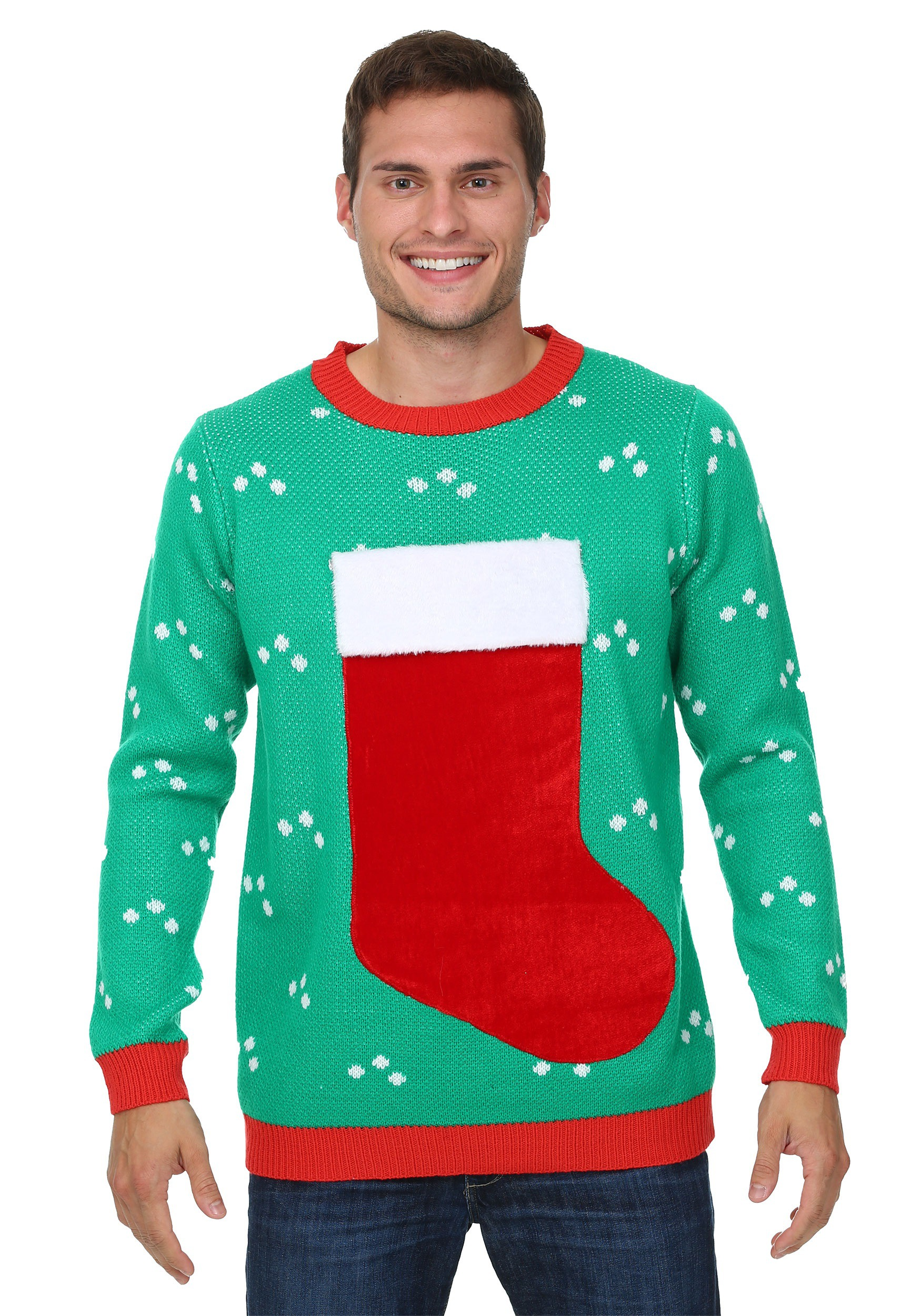 3D Christmas Stocking Ugly Christmas Sweater for Adults