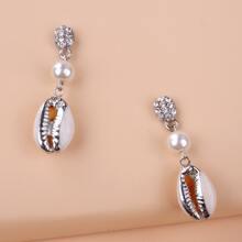 Shell Charm Drop Earrings