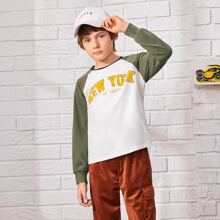 Boys Letter Graphic Color Block Tee