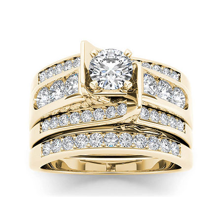 1 1/4 CT. T.W. Diamond 14K Yellow Gold Bridal Ring Set, 7 , No Color Family