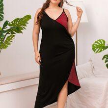 Plus Contrast Panel Asymmetrical Hem Cami Night Dress