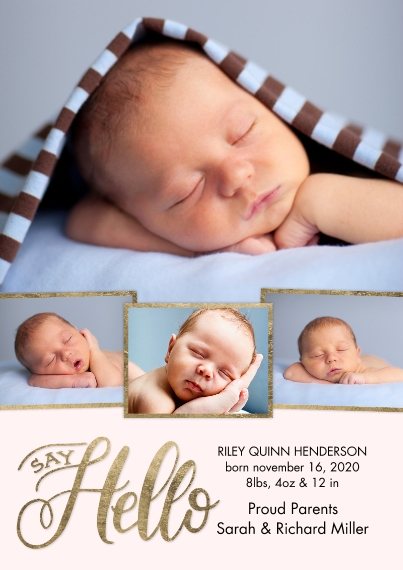 Baby Announcements 5x7 Cards, Premium Cardstock 120lb with Scalloped Corners, Card & Stationery -Baby Gold Borders by Tumbalina