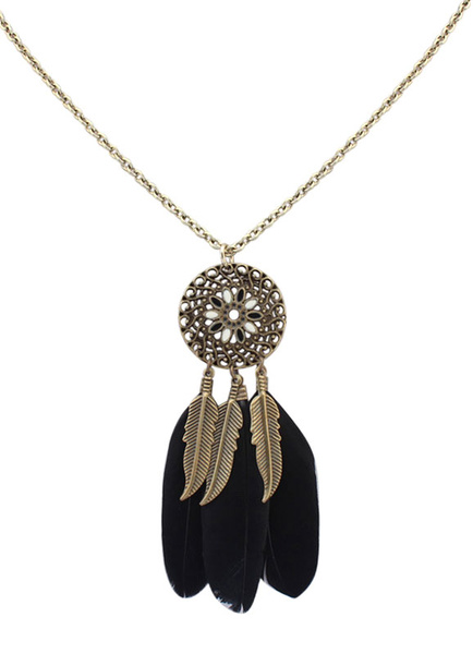 Milanoo Boho Necklace Feather Fringe Alloy Flower Pendant Necklace For Women