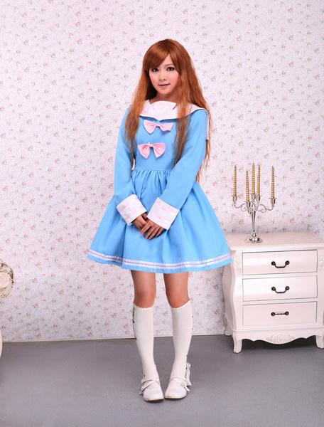Milanoo Cotton Blue Bow Long Sleeves School Lolita Dress