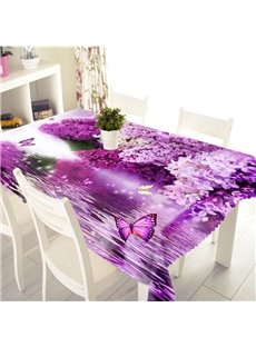 3D Purple Flowers and Butterflies Printed Thick Polyester Table Cover Cloth