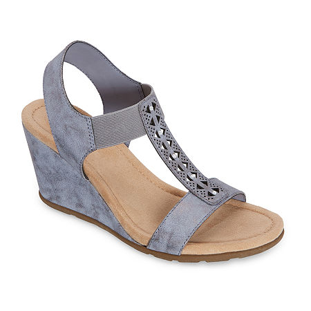 east 5th Womens Lynden Wedge Sandals, 10 Wide, Blue
