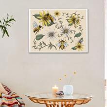 Pintura de pared con estampado de flor y abeja sin marco