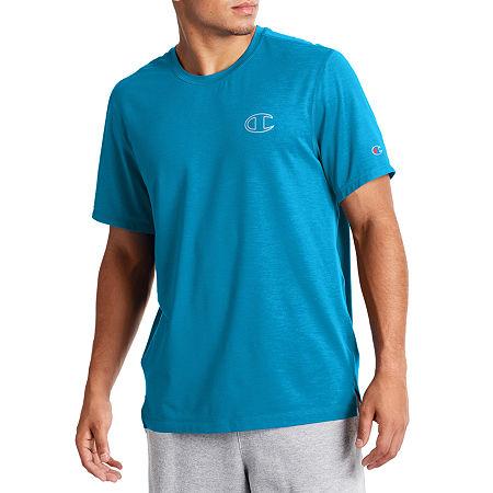 Champion Sport Mens Crew Neck Short Sleeve Moisture Wicking T-Shirt, X-large , Blue